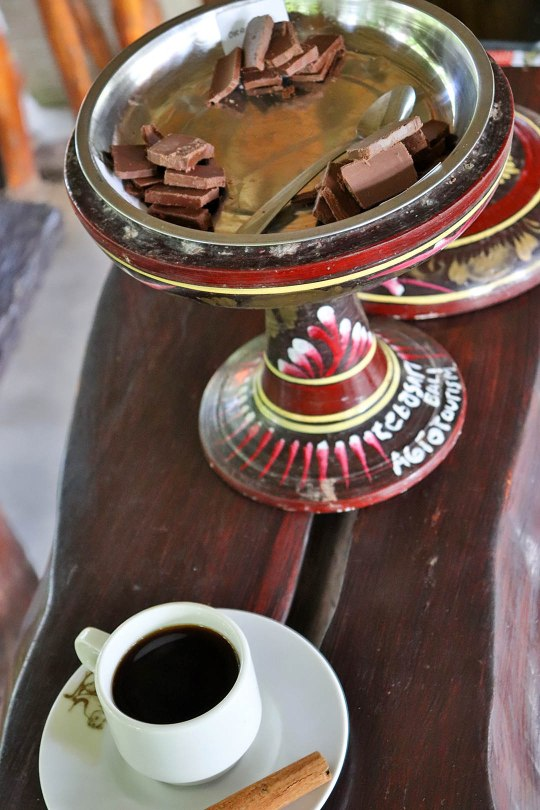 Chocolate in three flavours and Kopi Luwak is served in the end