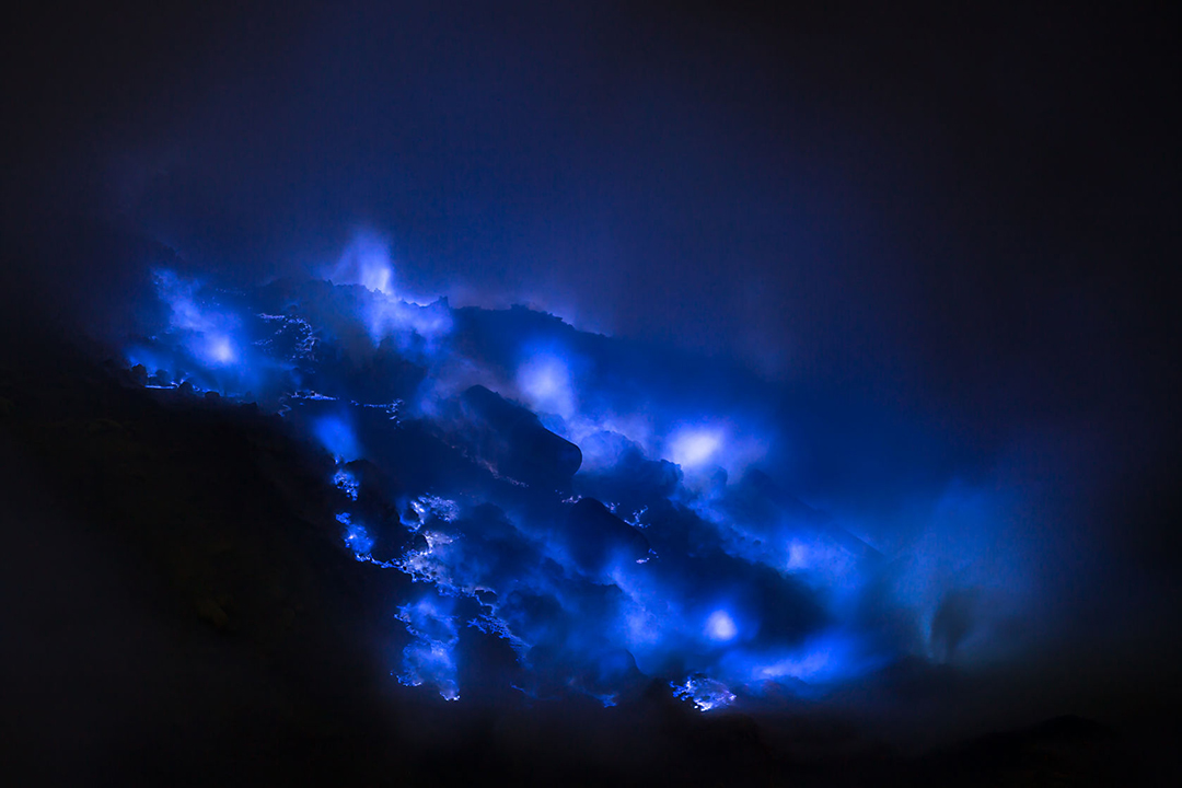 41128432 - blue sulfur flames, kawah ijen volcano, east java